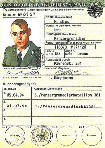 Bundeswher/ Truppenausweis/ Uwe Mundlos