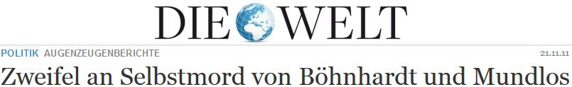 Zweifel an Selbstmord von Böhnhardt und Mundlos